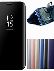 abordables -Funda Para Huawei P20 Pro P20 con Soporte Espejo Funda de Cuerpo Entero Un Color Dura Cuero de PU para Huawei P20 lite Huawei P20 Pro