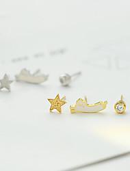 abordables -Femme Adorable Décalage Chat / Etoile 3pcs Boucles d'oreille goujon - Décontracté / Décalage Or / Argent Forme de Cercle Des boucles