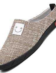 お買い得  -男性用 靴 リネン 春 夏 コンフォートシューズ ローファー&スリップアドオン のために カジュアル アウトドア ブラック ベージュ カーキ色