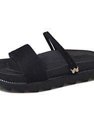 povoljno -Žene Cipele PU Proljeće Ljeto Udobne cipele Sandale Niska potpetica Okrugli Toe za Kauzalni Crn Zelen Lila-roza