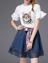 povoljno -Žene Flare rukav Aktivan Majica - Geometrijski oblici, Mašna Mrežica Print Kolaž Suknja