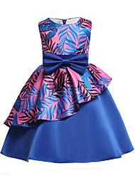 abordables -Robe Fille de Soirée Sortie Fleur Coton Polyester Printemps Eté Sans Manches Mignon Actif Bleu