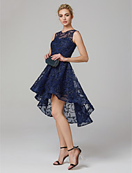 cheap -A-Line Jewel Neck Asymmetrical Tulle Cocktail Party / Prom Dress with Flower by TS Couture®
