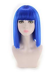 abordables -Perruque Synthétique Droit Coupe Carré Cheveux Synthétiques Synthétique / Nouvelle arrivee Bleu Perruque Femme Court Sans bonnet Bleu / Oui