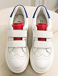 povoljno -Žene Cipele Koža Proljeće Jesen Udobne cipele Sneakers Wedge Heel Okrugli Toe za Kauzalni Crvena Crno-bijeli