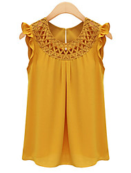 cheap -Women's Basic Blouse - Solid Colored / Ruffle