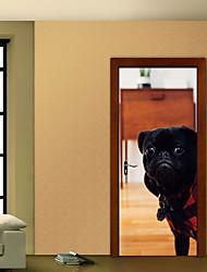 Недорогие -Наклейка на стену Дверные наклейки - 3D наклейки Животные 3D Положение регулируется Съемная
