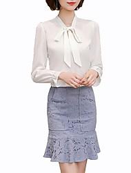 Недорогие -Жен. Офис Бант Большие размеры - Рубашка V-образный вырез Классический Однотонный / Весна / Лето