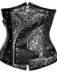 abordables -Cosplay Steampunk Costume Femme Corset Bustier Sur Poitrine Noir Marron foncé Vintage Cosplay Spandex Sans Manches