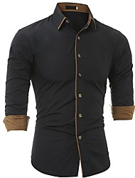 cheap -Men's Business Plus Size Shirt - Solid Colored