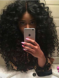 cheap -Remy Human Hair Lace Front Wig Brazilian Hair Curly Wig Layered Haircut 180% With Baby Hair / African American Wig / With Bleached Knots Black Women's Short / Long / Mid Length Human Hair Lace Wig
