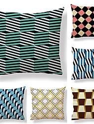 baratos -6 pçs Téxtil Algodão / Linho Fronha, Damasco Art Deco Estampado Arte Deco / Retro Criativo