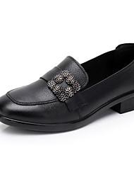 baratos -Mulheres Sapatos Couro Primavera Outono Conforto Mocassins e Slip-Ons Salto Robusto para Casual Preto Azul Claro