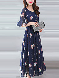 abordables -Femme Grandes Tailles Manches Evasées Mince Mousseline de Soie / Balançoire Robe - Imprimé, Fleur Midi / Printemps / Eté