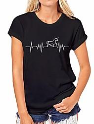 preiswerte -Damen Solide Geometrisch - Grundlegend T-shirt Druck