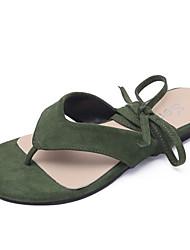 cheap -Women's Shoes PU(Polyurethane) Summer Comfort Sandals Flat Heel Round Toe Beige / Dark Brown / Dark Green / Lace up