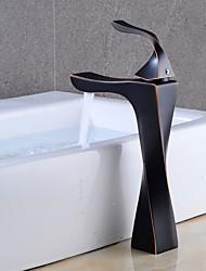 abordables -Robinet lavabo - Séparé Bronze huilé Set de centre Mitigeur un trou