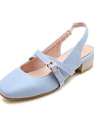preiswerte -Damen Schuhe Kunstleder Frühling Sommer T-Riemen Sandalen Golf Shoes Blockabsatz Quadratischer Zeh Schnalle für Hochzeit Büro & Karriere