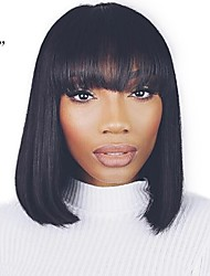cheap -Unprocessed Human Hair / Human Hair Lace Front Wig Brazilian Hair Straight Wig Bob Haircut / Short Bob 130% Natural Hairline / For Black Women / 100% Hand Tied Natural Women's Mid Length / 8-14 Human