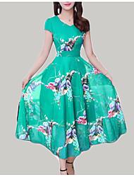 abordables -Mujer Tallas Grandes Básico / Tejido Oriental Delgado Línea A Vestido Floral Midi Escote en Pico