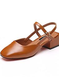 Недорогие -Обувь Полиуретан Весна Осень Удобная обувь Мокасины и Свитер На низком каблуке Круглый носок для Черный Коричневый Светло-голубой