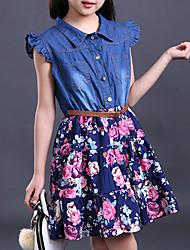 cheap -Girls' Daily Dress, Others Summer Sleeveless Floral Ruffle Blue