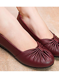 cheap -Women's Shoes PU Spring Fall Comfort Flats Low Heel for Black Brown Burgundy
