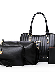 baratos -Mulheres Bolsas PU Conjuntos de saco Conjunto de bolsa de 4 pcs Tachas Vermelho / Cinzento / Marron