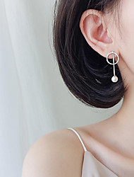 cheap -Long Drop Earrings - Pearl, Sterling Silver Simple, Korean, Fashion Silver For Gift / Evening Party