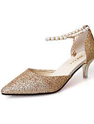 preiswerte -Damen Schuhe Glanz Frühling Sommer Pumps Sandalen Kitten Heel-Absatz Spitze Zehe Perle Gold / Schwarz / Silber / Party & Festivität