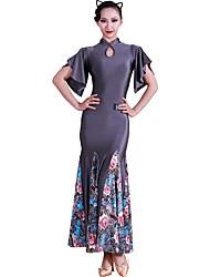 Недорогие -Бальные танцы Платья Жен. Учебный Ice Silk (искусственное волокно) Узоры / принт С короткими рукавами Средняя талия Платье