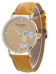 baratos -Mulheres Quartzo Relógio de Moda Chinês Mostrador Grande PU Banda Casual Fashion Preta Branco Azul Vermelho Marrom Amarelo