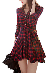 cheap -Women's Cotton A Line Dress - Plaid V Neck