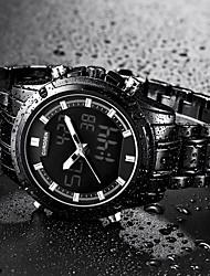 voordelige -Heren Kwarts Dress horloge Japans Kalender s Nachts oplichtend Stopwatch Roestvrij staal Band Luxe Cool Zwart Goud