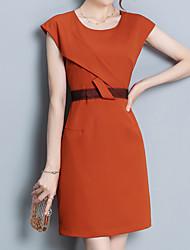 c35f0906d18d Dame Plusstørrelser I-byen-tøj Gade Sofistikerede Tynd Skede Kjole -  Ensfarvet