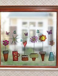Недорогие -Оконная пленка и наклейки Украшение Современный Цветы ПВХ Стикер на окна Матовая