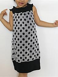 cheap -Baby Girl's Daily Polka Dot Dress, Cotton All Seasons Dot Sleeveless White Black