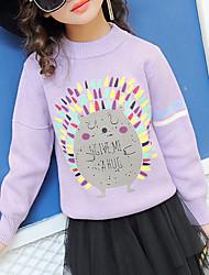 preiswerte -Mädchen Pullover & Cardigan Blumen Baumwolle Frühling Herbst Langarm Niedlich Aktiv Zeichentrick Grün Rosa Beige Purpur Leicht Blau