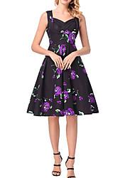 baratos -Mulheres Boho Evasê Vestido - Estampado, Floral Altura dos Joelhos