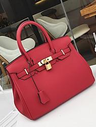 baratos -Mulheres Bolsas PU Leather Tote Botões para Formal / Escritório e Carreira Laranja / Vermelho / Camel