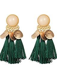 baratos -Mulheres Brincos Compridos - Boêmio Arco-íris / Vermelho / Verde Formato Circular Brincos Para Diário