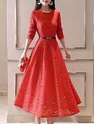 baratos -Mulheres Feriado Moda de Rua Algodão Delgado Evasê Vestido - Renda, Sólido Médio