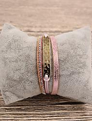 Недорогие -Жен. Кожа Кожаные браслеты - На каждый день Мода нерегулярный Розовый Браслеты Назначение Подарок Повседневные