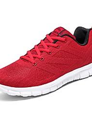 お買い得  -男性用 靴 チュール ネット 夏 ライト付きソール コンフォートシューズ スニーカー ウォーキング テニス ランニング のために カジュアル レッド ブラック / レッド