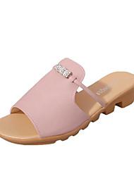 abordables -Femme Chaussures Tissu Eté Confort Sandales Hauteur de semelle compensée Bout rond Blanc / Noir / Rose