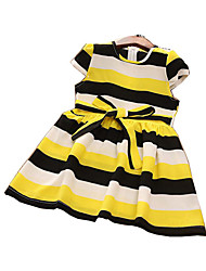 cheap -Girl's Daily Striped Dress, Polyester Summer Short Sleeves Basic Yellow