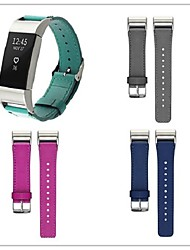 cheap -Watch Band for Fitbit Charge 2 Fitbit Leather Loop Metal Leather Wrist Strap