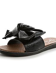 Mujer Zapatos Tela Verano Confort Zapatillas y flip-flops Tacón Plano Puntera abierta Pajarita Negro / Rojo 44tYp
