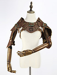 cheap -Holiday Steampunk Costume Women's Corset Brown Vintage Cosplay Leather Short Sleeves Cap