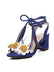 preiswerte -Damen Schuhe Vlies Sommer Komfort Sandalen Blockabsatz Offene Spitze Schwarz / Blau / Rosa / Party & Festivität / Mit Schleife